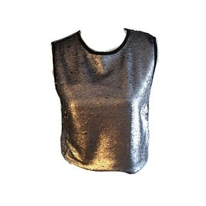 NWT shinestar silver sequin& black dressy top XL